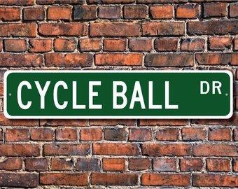 Cycle Ball, Cycle Ball Zeichen, Cycle Ball Fan, Cycle Ball Geschenk, Fußball auf Fahrräder, Radball, Custom Street, Qualität Metall Schild