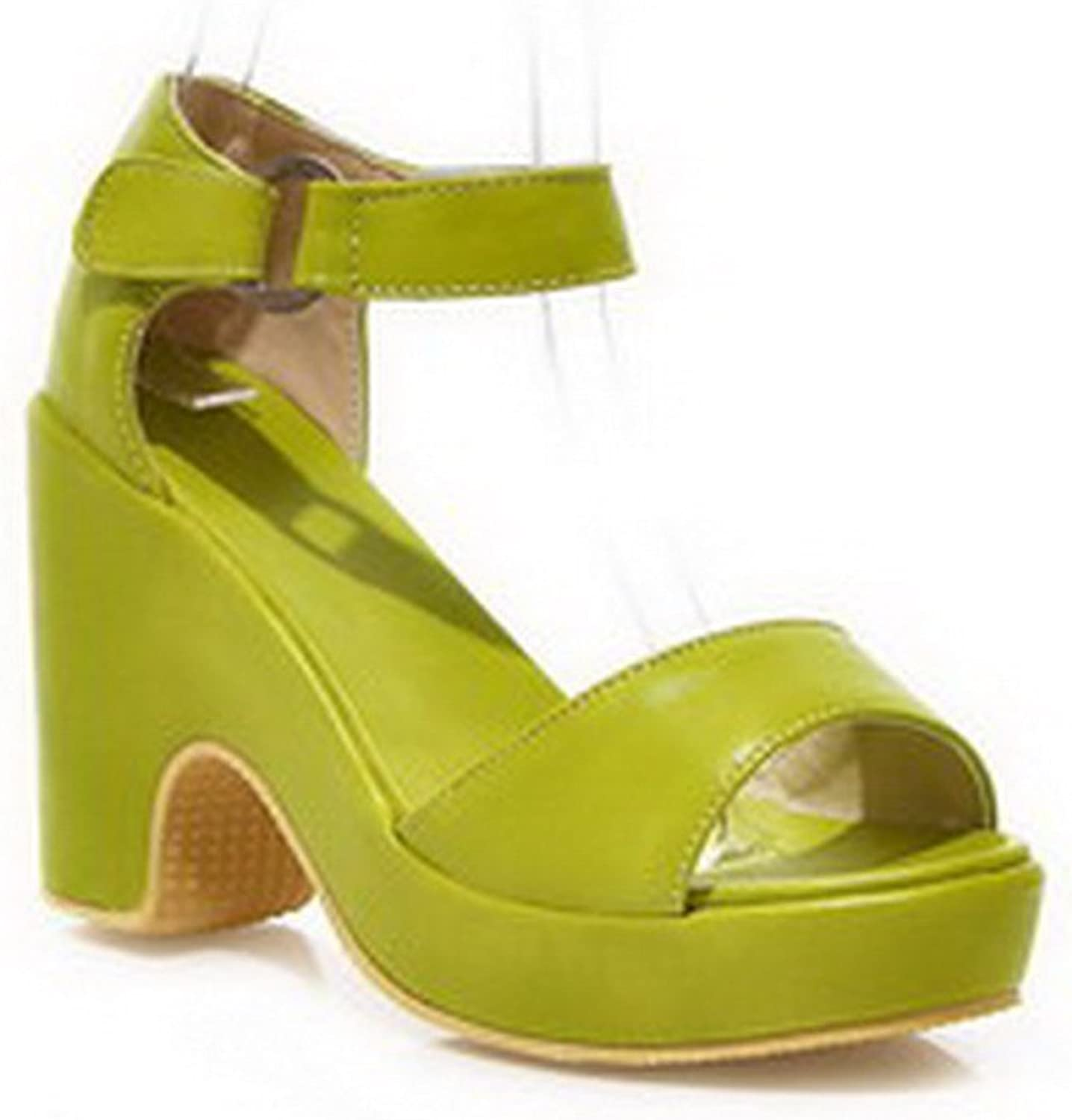 WeiPoot Women's Open Toe High Heel Soft Material Solid Sandals with Buckle, Green, 7.5 B(M) US