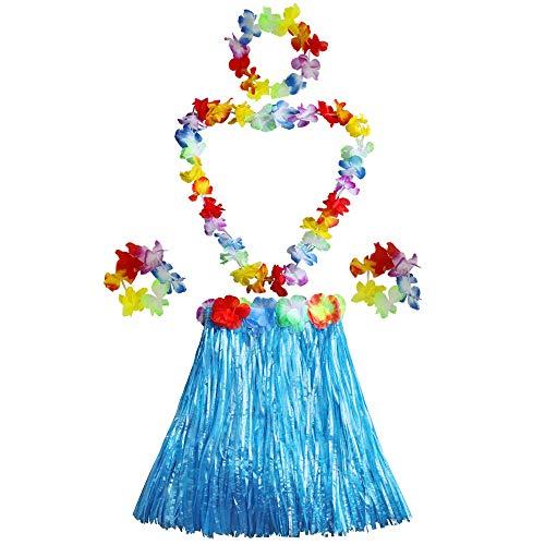 Girl's Elastic Hawaiian Hula Dancer Grass Skirt...