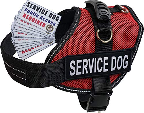 Activedogs Service Dog Air-Tech Medium Red Mesh Vest Harness + Free ADA Cards + Free Reflective Service Dog Patches (Girth 22