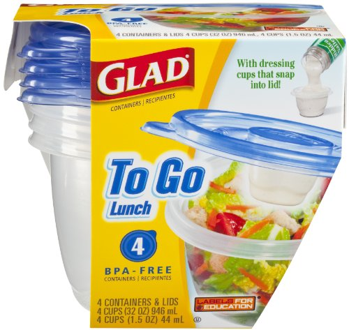 Glad To Go Container Lunch Size – With Dressing Cups That Snap Into Lid