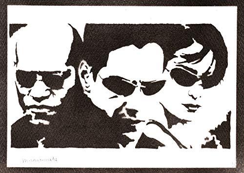 Póster The Matrix Neo Trinity y Morfeo Grafiti Hecho a Mano Handmade Street Art - Aesthetic Artwork