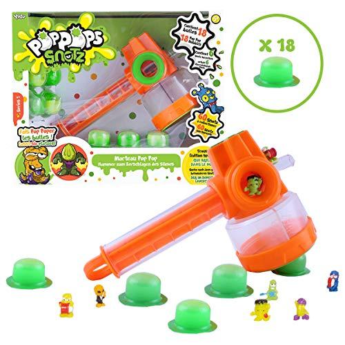 Bandai - Poppops - Pop Pop Hamer- - 1 hamer, 18 groene Slime Bubbles om te versnipperen en 6 verrassingsfiguren om te verzamelen - knutselen - kneedmassa - YL07140