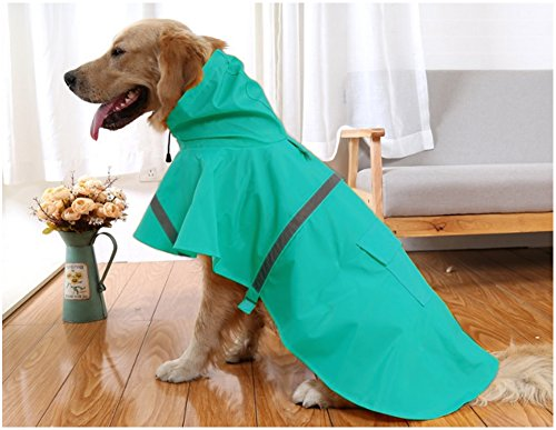 Mikayoo Large Dog Raincoat Adjustable Pet Water Proof Clothes Lightweight Rain Jacket Poncho Hoodies with Strip Reflective(Lake Blue,L)