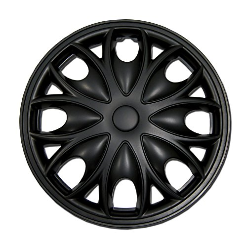 TuningPros WC-15-3526-B 15-Inches Pop On Type Improved Hubcaps Wheel Skin Cover Matte Black Set of 4