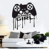 Gamer Girl Wall Sticker Eat Sleep Game Blood drop effect Controller Joystick Video Game Kids Bedroom Game Room Decoration Vinyl decal art mural poster