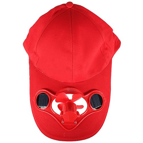 Dcolorete Exterieur Solaire Sun Power Chapeau de Refroidissement Cool Fan de Golf Baseball Sport - Rouge
