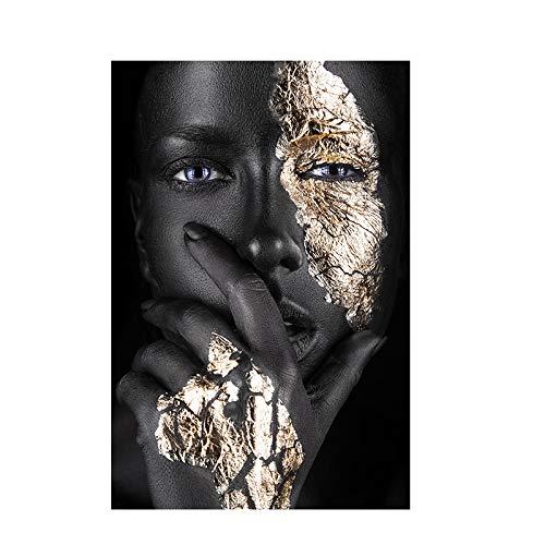 FXBSZ Arte africano negro y oro mujer pintura al óleo lienzo impresión cartel y mural salón nórdico decoración del hogar pintura 60x90cm sin marco