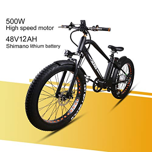 NAKTTO 26' 500W Electric Bicycle Fat Tire Mountain EBike 6 Speeds Gear, Removable 48V12A Lithium...