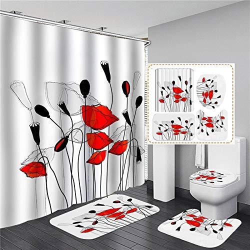 ZHEXI Cortina de Ducha de Flores Rojas WC 4 Piezas Cortina de baño de poliéster Impermeable Antideslizante Alfombra de baño Suave Alfombra de baño decoración Simple del hogar