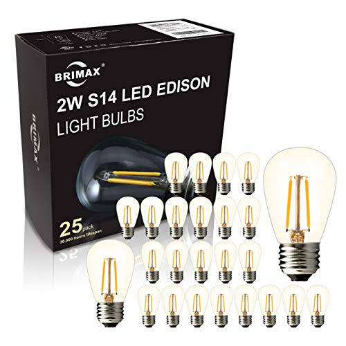 BRIMAX - (25PACK) - S14 LED Outdoor Edison Light Bulbs for Patio String Light Bulbs Replacement, E26 Medium Screw Base, Dimmable, 2700K, 2W to Replace 11w/15w/20w Incandescent Bulb, Energy Efficient