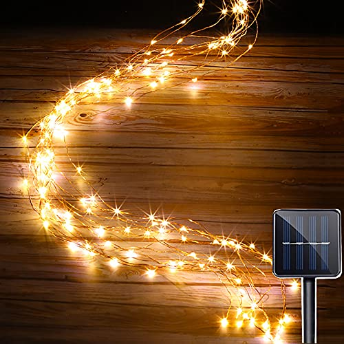 XKMY Cadena de luces LED de jardín Solar cadena luces al aire libre 10 hebras 200 LEDs impermeable Twinkle Starry Light Cascada Vine rama luz para jardín Navidad