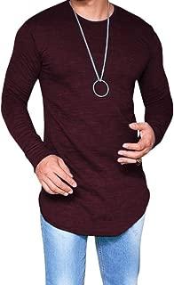 Mens Solid Extended Hipster Hip Hop Swag Curve Hem Long Sleeve T Shirt