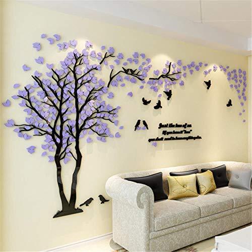 Grote grootte Boom Acryl Decoratieve 3D Muursticker DIY Art TV Achtergrond Muurposter Huisdecoratie Slaapkamer Woonkamer Wallstickers L about 1.5x3.0m Purple Left