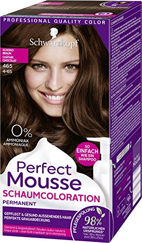 SCHWARZKOPF PERFECT MOUSSE Permanente Schaumcoloration 465 Schokobraun Stufe 3, 3er Pack (3 x 92,5 ml)