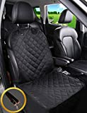 ALFHEIM Dog Car Seat Cover Car Back Seat Cover Nonslip Rubber Backing with Anchors for Secure Fit - Universal Design for All Cars, Trucks & SUVs (Black) (Front Seat Cover)