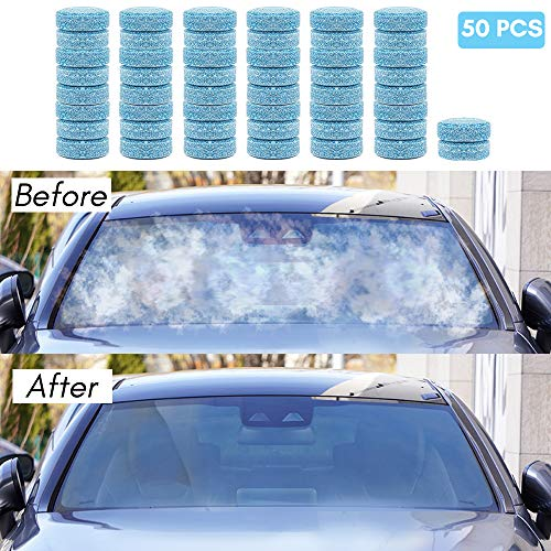 50x Windscreen Wash Tablets Car Windshield Glass Cleaning Tablets Multifunctional Clean Concentrated Effervescent Screen Wash Tablets Screenwash (equivalent to 200L)
