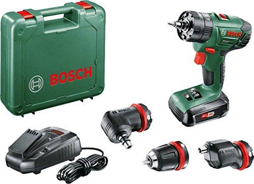 Bosch Home and Garden Coffret perceuse visseuse à percussion sans fil Bosch - AdvancedImpact 18 QuickSnap (Livré avec une batterie 18V-1,5Ah, 3 mandrins et accessoires), Vert, 06039A3400