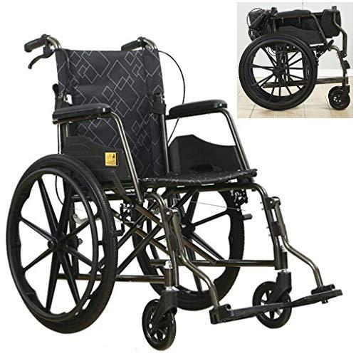 SUNBJ Selbstfahr Rollstühle, faltbar manuellen Rollstuhl mit Nicht-aufblasbar Vollreifen Doppelbremse einstellbar Fußpedal Tretroller for Behinderte/Ältere