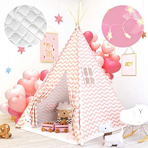 Tiny Land Tipi Kinderzimmer Spielzelt für Kinder mit Matte & Lichterkette drinnen draußen - Segeltuch Kinder Zelt (Rosa Chevron Chevron 160cm Hoch )