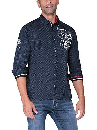 Camp David Herren Baumwollhemd mit Stickereien, Regular Fit, Space Navy, L