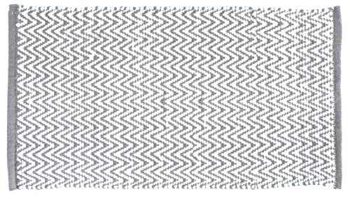 Gelco Design Scandinave Tapis de Bain, Coton, Gris/Blanc, 60 x 120 x 0,5cm