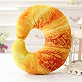 Mural Art Creative 3D Shrimp Meat Bread Vegetable Neck Pillow Comfortable U Shaped Decorative Travel Neck Pillow Throw Pillow Cushion Home Decoration Holiday Birthday Gift (Bread)