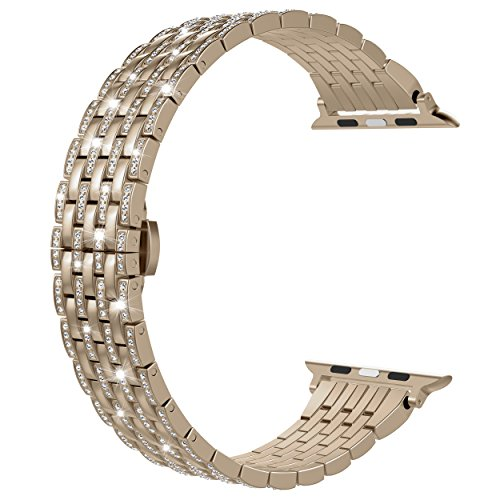Wearlizer Compatible with Apple Watch Band 38mm 40mm for iWatch Womens Bling Rhinestone Wristband Luxury Crystal Lightweight Aluminum Strap Dress Bracelet for Series SE 6 5 4 3 2 1-Champagne Gold