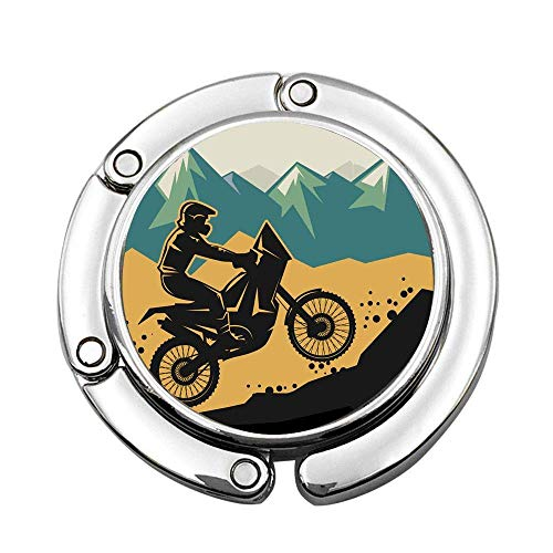 Motocross on The Mountain Region Grunge Effect Action Bike Race Themed Design Custom Various Design Pattern Shoulder Handbag Folding Purse Hanger Hook