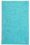 Brandseller - Alfombra de baño moderna de chenilla en estilo tupido, color crema, verde, turquesa, burdeos, gris y pardo, aprox. 50 x 70 cm, poliéster, azul turquesa, 50 x 80 cm