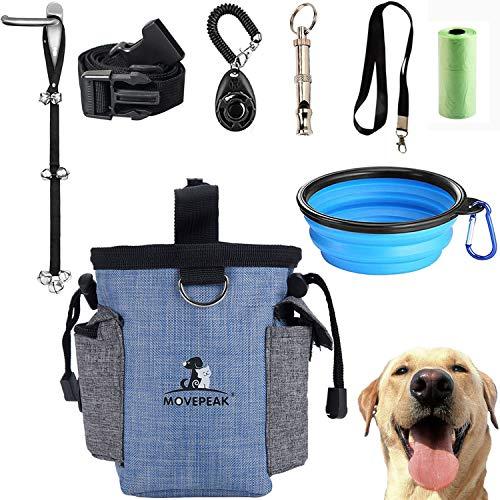 GOTONE Kit de Entrenamiento para Perros Bolsa para Tratar Perros, Bolsa para Tratar Perros y timbres Ajustables para Cachorros, Silbato para Perros, Cuenco Plegable, Dog Training Clicker