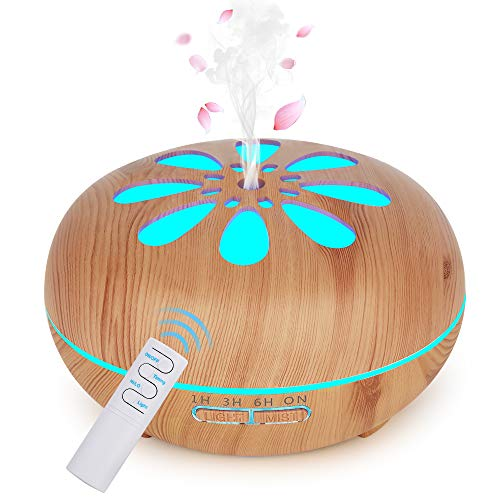 GeeRic Mis à Jour Humidificateur d'air Ultrasonique Brume Arôme Parfum Electrique avec Télécommande 7 Couleurs Changeantes Arrêt Automatique Diffuseur d'Huile Essentielle 550ml Brun