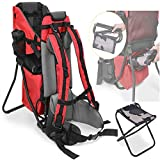 Baby Toddler Hiking Backpack Carrier for Outdoor Baby Back Carrier +Bonus Stool (Red)