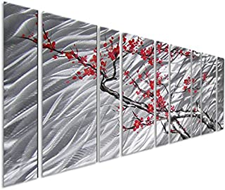 Pure Art Cherry Blossom Flower Tree – Browns Silvers and Reds/Pinks, Massive Metal Wall Art Decor Perfect for Any Room – Contemporary Hanging Sculpture Set of 9 Panels 86