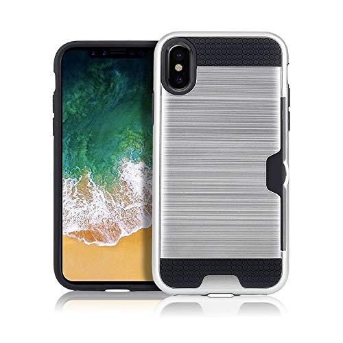 H-HX telefoonhoes beschermhoes, telefoonhoesje, ultradunne TPU + PC geborsteld textuur stootvaste beschermhoes met kaartsleuf voor iPhone X/XS (zwart), zilver