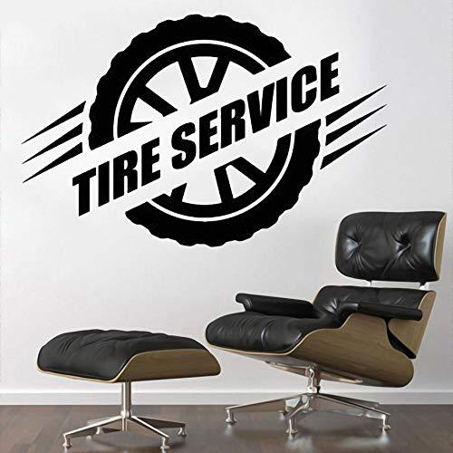wZUN Rad Vektor Reifen Service Wandkunst Aufkleber für Auto Garage Store Dekoration abnehmbar 57x37cm