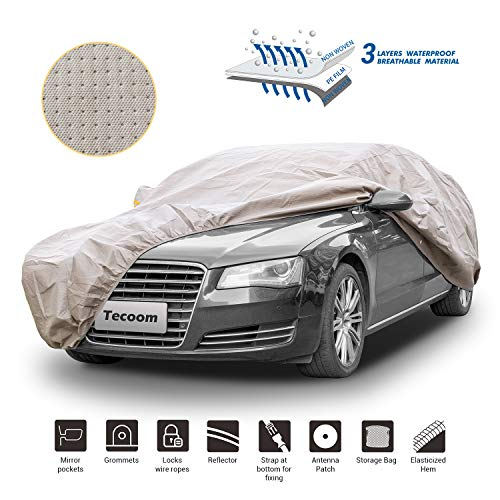 Tecoom HD Super Breathable Waterproof Windproof Snow Sun Rain UV Protective Outdoor All Weather Car Cover Fit 191-200 inches Sedan