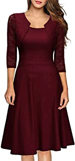 Kangma Women Lace Cocktail Party Long Sleeve Prom Bridesmaid Dress