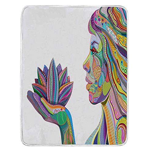 Lotus Cozy Blanket, Weighted Blanket Woman Face With Multicolored Indian Pattern Holding...