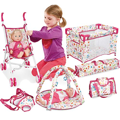 Liberty Imports 5-in-1 Deluxe Newborn Baby Doll Stroller Nursery Playset