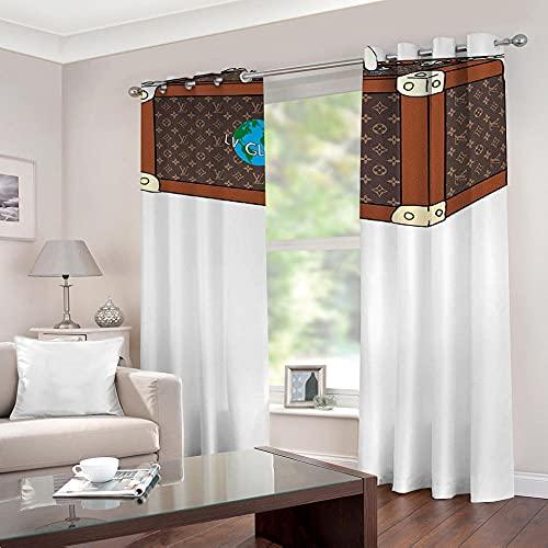 Cortinas Opacas De Salon Termicas Aislantes para Ventana Cortinas Dormitorio Moderno con Ojales 2 Piezas - Maleta 115 × 255 Cm × 2 Paneles