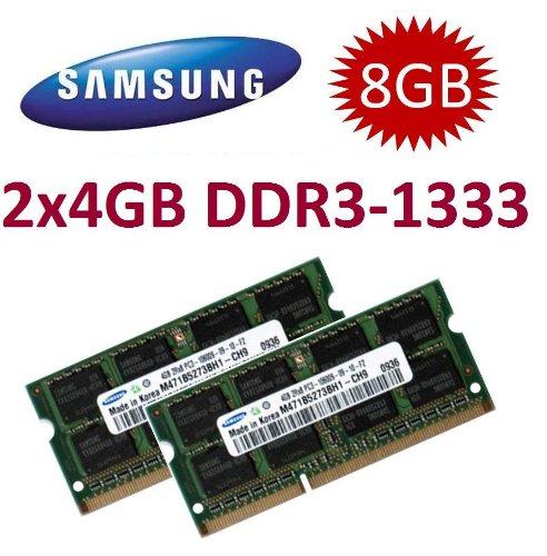 Samsung Original Mihatsch & Diewald Dual-Channel-Speichermodule für Lenovo ThinkPad L412 / L420 / L512 / L520 / T410 / T410i / T410s / T510 / T510i / T520 / T520i / W510 / W520 / W701 / W701ds / X201 / X201t / X220 / X220i (8 GB = 2 x 4 GB, 204 pin DDR3-1333, 1333Mhz, PC3-10600, CL9), 2 Stück