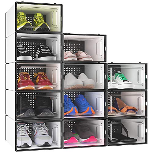 YITAHOME Shoe Box Small Size Set of 12 Shoe Storage Organizers Stackable Shoe Storage Box Rack Containers Drawers