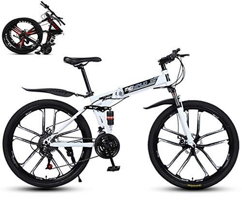 26 Zoll Mountainbike, Scheibenbremsen Hardtail MTB, Trekkingrad Herren Bike Mädchen-Fahrrad, Vollfederung Mountain Bike,Fahrrad mit Scheibenbremsen/Weiß