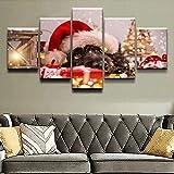 QuEinMKn Cuadro sobre Lienzo para Pared, Impresiones en HD, decoración de Sala de Estar para el hogar, Perro Animal, 5 Piezas, Cuadro Encantador Modular, Cuadros, póster artístico