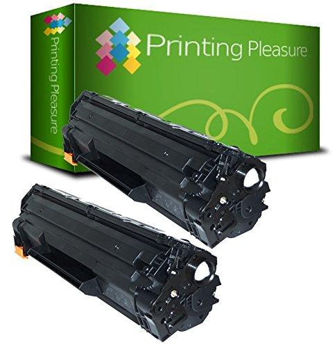 Printing Pleasure CE285A 85A / CRG 725 Kit 2 Toner Compatibili per HP Laserjet Pro & Canon I-Sensys stampanti, Nero