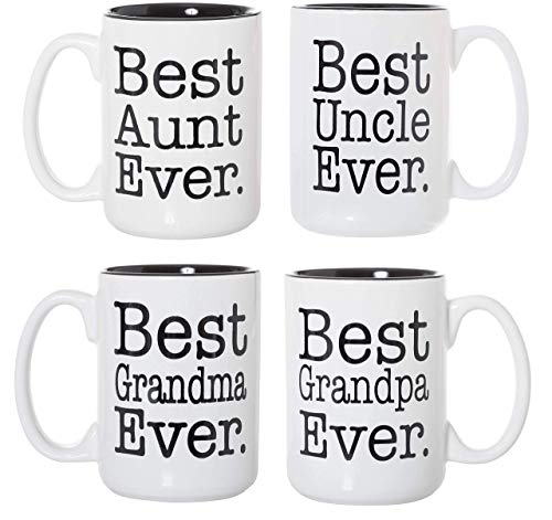 Best Aunt Uncle Grandma Grandpa Ever Black Inlay 15oz Deluxe Double-Sided Coffee Tea Mugs Set