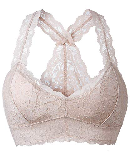 YIANNA Women Floral Lace Bralette Padded Breathable Sexy Racerback Lace Bra Bustier Crop Top Wirefree Lingerie, YA8332-Skin-XL