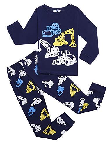 Bricnat Schlafanzug Jungen Langarm Baumwolle Pyjama Kinder Zweiteiliger Nachtwäsche Set Dinosaurier,Hai, Sternenhimmel, Feuerwehrauto,Bulldozer 3-11 Jahre 120 Blau