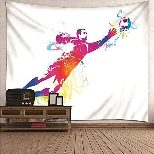 Aimsie Tapiz de pared, diseño deportivo de fútbol, hombre, toallero, poliéster, decoración de pared, habitación de los niños, niña, decoración de pared, sala de estar, color blanco, 350 x 256 cm